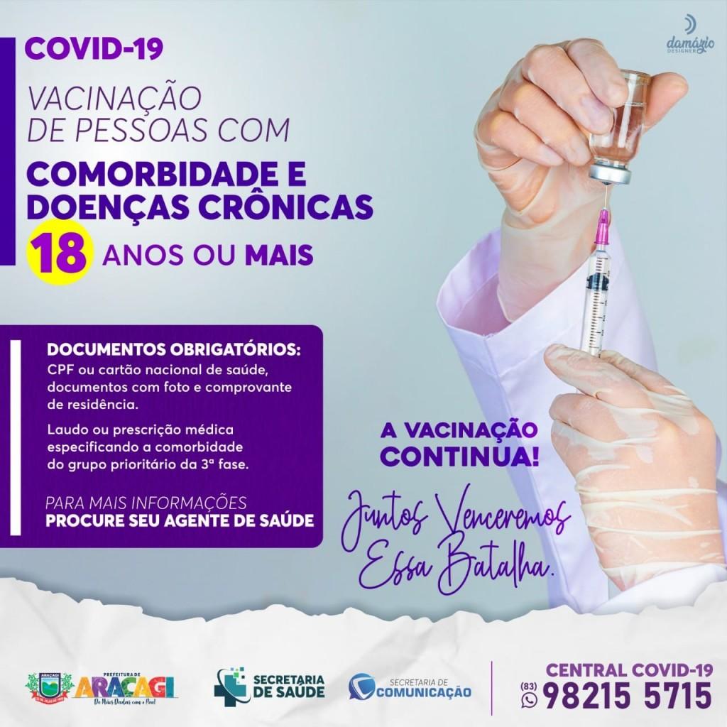 Araçagi está vacinando contra a COVID-19 as pessoas com 18 anos ou mais com comorbidades