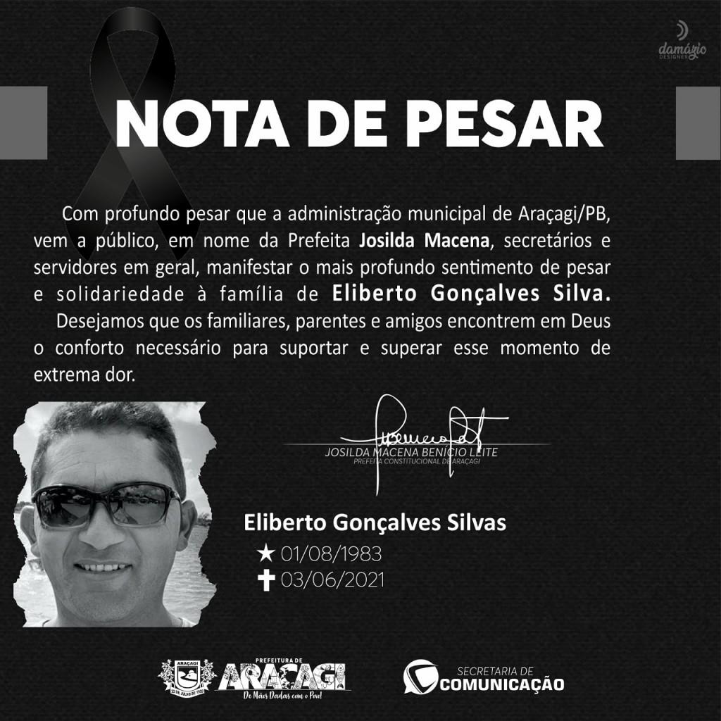 Prefeita Josilda decreta luto oficial de três dia em Araçagi em virtude do falecimento de Eliberto Gonçalves