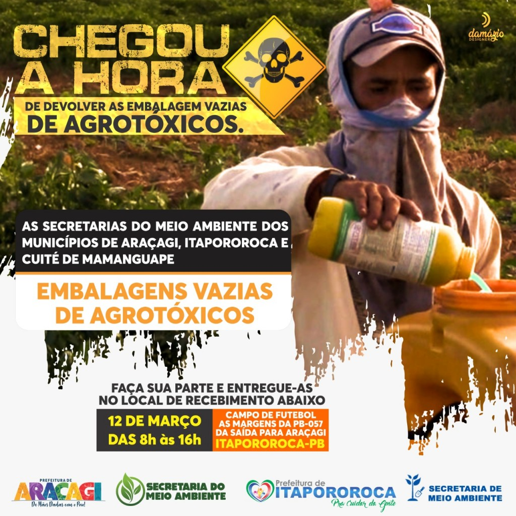 Secretaria de Meio Ambiente fecha parceria com prefeitura de Itapororoca para devolução de embalagens de agrotóxicos