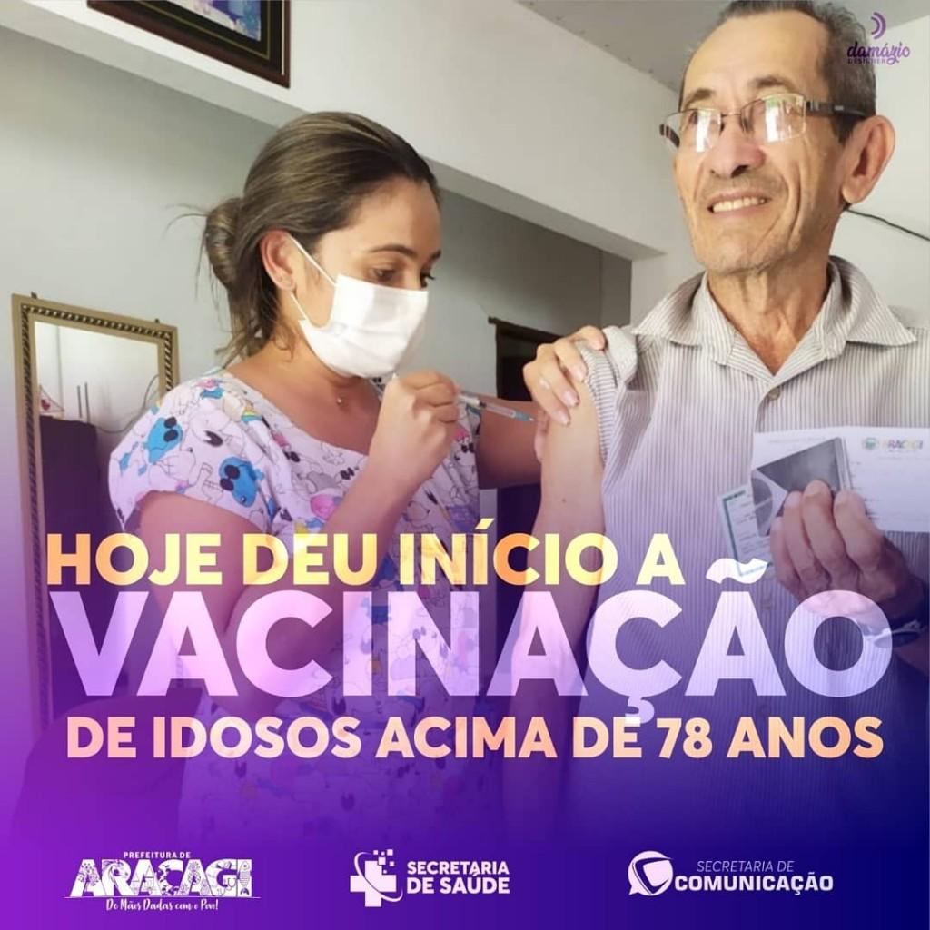Secretaria de Saúde de Araçagi inicia vacinação de idosos de 78 anos acima contra a COVID-19