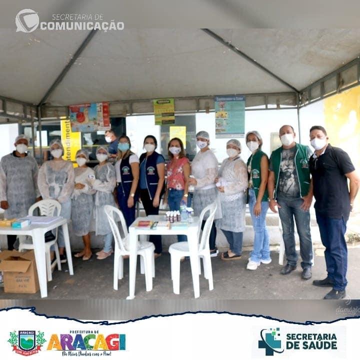 Secretaria de Saúde realizou ação contra o COVID-19  na feira de Araçagi