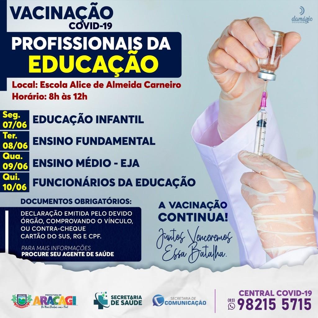 Araçagi iniciará vacinação de professores e profissionais da educação contra a COVID-19 na próxima segunda-feira (07)