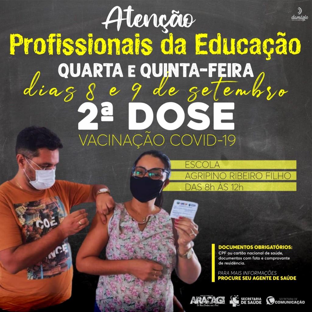 Araçagi aplica nesta quarta e quinta segunda dose da vacina contra coronavírus em profissionais da educação do município